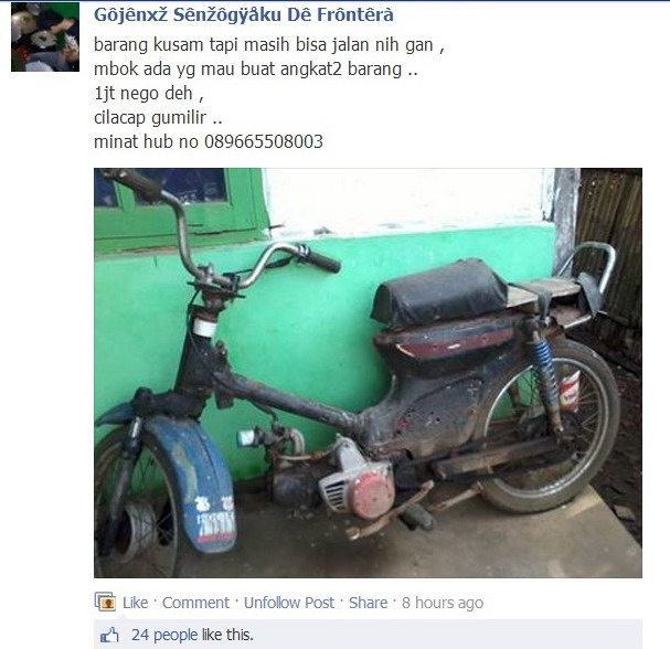 motor butut dijual jbc