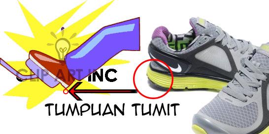Sepatu tumpuan tumit