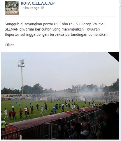 Kerusuhan Supporter PSCS vs PSS