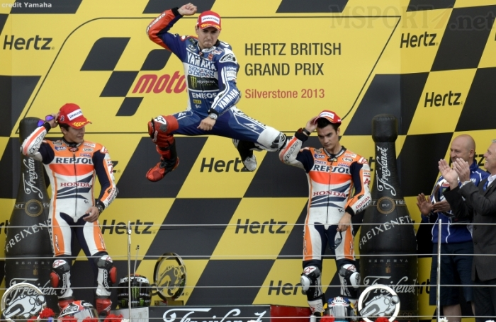 Lorenzo jump to express his victory in SIlverstone 2013