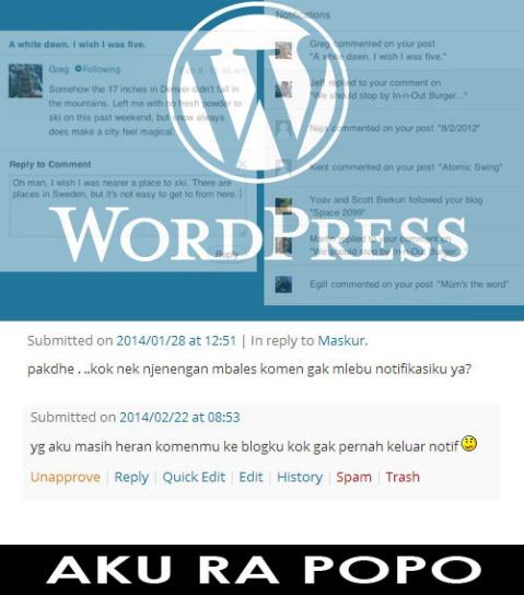 Notifikasi WordPress aKU RAPOPO