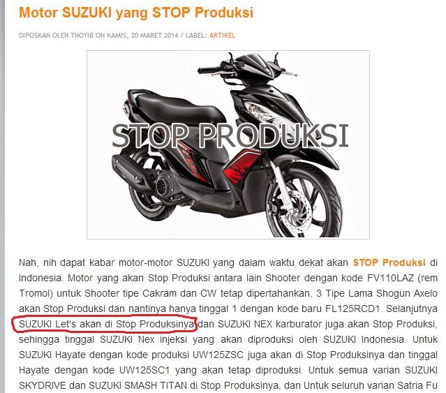 Suzuki Lets Stop Produksi
