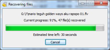 Recuva recovering progress