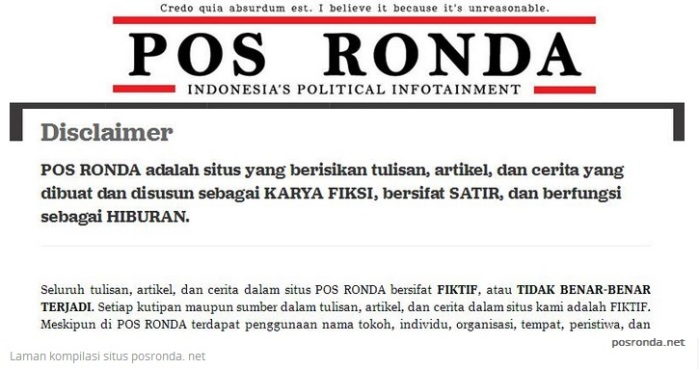 Pos Ronda dot Net disclaimer