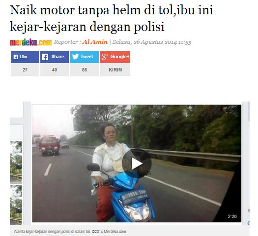 Naik motor tanpa helm masuk tol