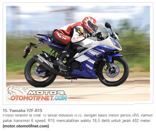 Yamaha R15 nomor 15
