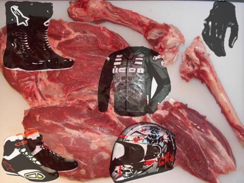 safety gear, flesh and bone