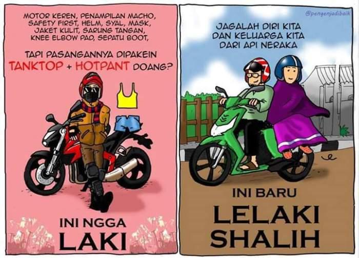 komik hijab naik motor
