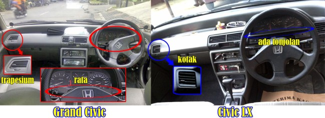 Beda Dashboard Grand Civic vs LX