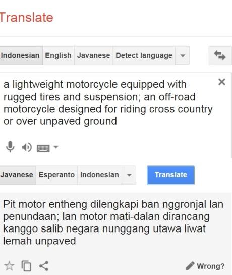 arti motor scrambler, google translate jawa