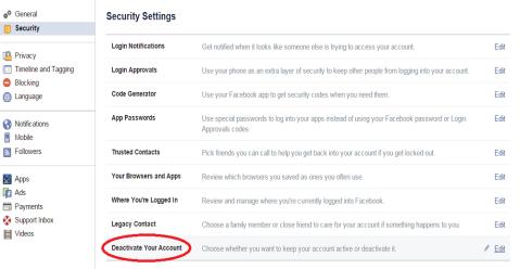 non aktifkan akun facebook