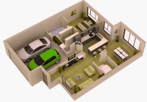 Gambar 3D Desain Rumah dengan Garasi