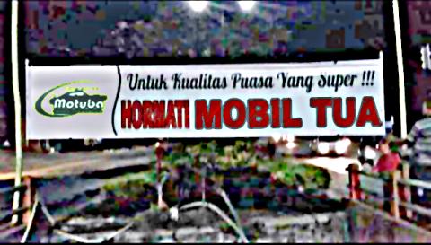 spanduk hormati mobil tua